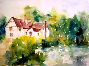 aquarell, watercolor, cottage, pond, teich