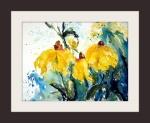 aquarell, blumen, gelb, sonnenhut