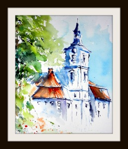 aquarell, birnau, basilika, kirche, turm, bodensee, church, tower, building