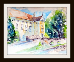 aquarell, waldviertel, oberhöflein, schloss, castle, watercolor