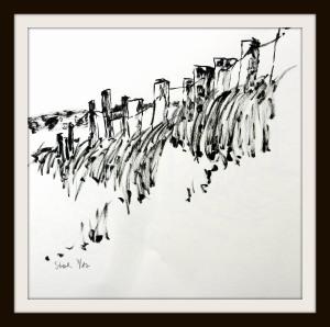 tusche, tuschpinsel, ink, indian ink, strand, beach