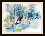 aquarell, watercolor, olivenbaum, olivenhain, wald blau, blue, forest, olive tree, olivenbäume