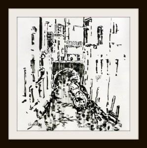 tusche, tuschpinsel, tinte, ink, indian ink, venedig, venice, kanal, canal, brücke, bridge