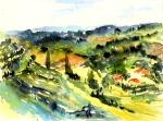 aquarell, watercolor, landschaft, landscape, weingärten, vine yards, weingarten, steiermark, styria, südsteiermark, weinstrasse, toskana, pappeln