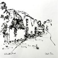 tusche, tuschpinsel, ink, indian ink, zeichnung, drawung, schrattenthal, hollabrunn, weinviertel, stadl