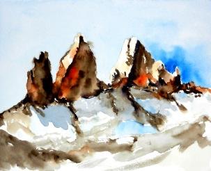 aquarell, watercolor, berge, mountains, gipfel