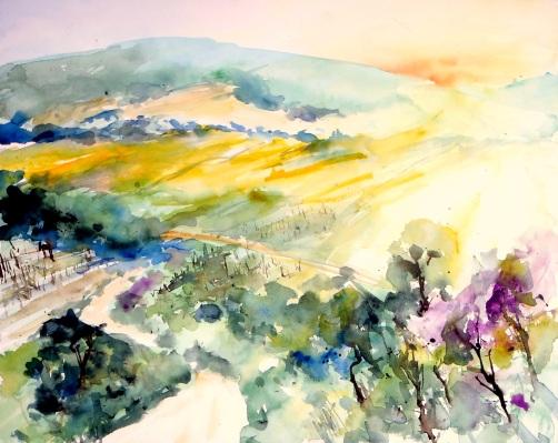 aquarell, watercolor, landschaft, landscape, koglsteine, weinviertel, waldviertel, rapsfelder