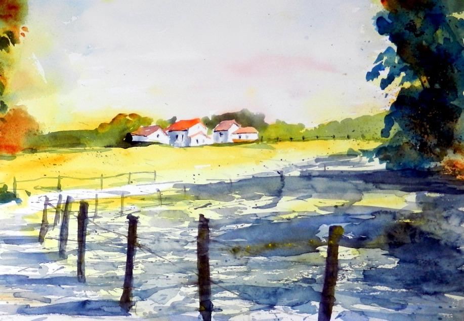 aquarell, watercolor, dorf, village, licht, light