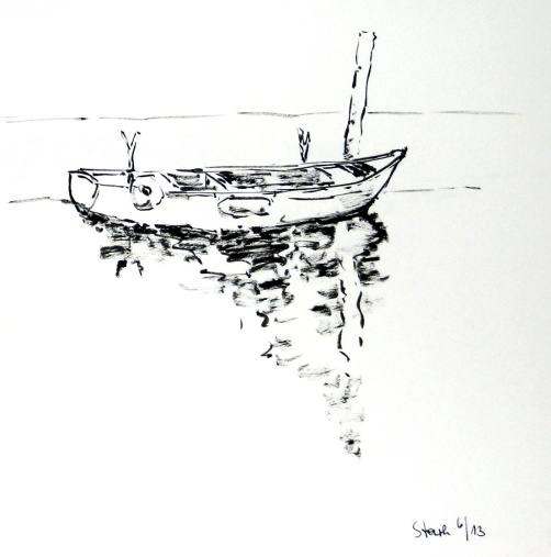 tusche, tuschpinsel, ink, indian ink, ink brush, boot, fischerboot, boat, fishingboat, kroatien, croatia, istrien, karigador