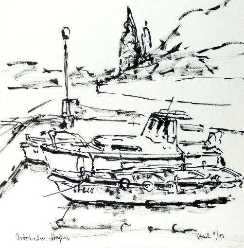 tusche, tuschpinsel, ink, indian ink, ink brush, lavis, hafen, port, istrien, harbor, seaport, fischerhafen, havre