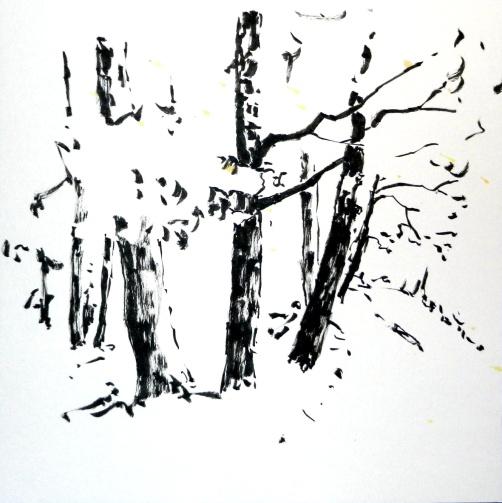 tusche, tuschpinsel, ink, indian ink, encre de Chine, landschaft, landscape, paysage, trees, bäume, arbres, wald, weg, path, forest, bois, chemin, sommer, summer, été