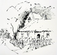 aquarell, watercolor, aquarelle, landschaft, landscape, paysage, garten, garde, jardin, bauernhaus, farm house, ferme, zaun, fence, clôture