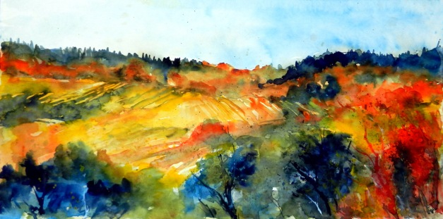 aquarell, watercolor, aquarelle, weinberg, vineyard, vignoble, weingarten, vineyard, vigne, hügel, hill, colline, herbst, fall, autumn, automne, landschaft, landscape, paysage, retz, retzerland, weinviertel