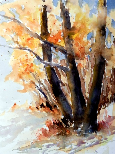aquarell, watercolor, aquarelle, see, lake, lac, bäume, trees, arbres, landschaft, landscape, paysage, herbst, fall, autumn, automne, Bodensee
