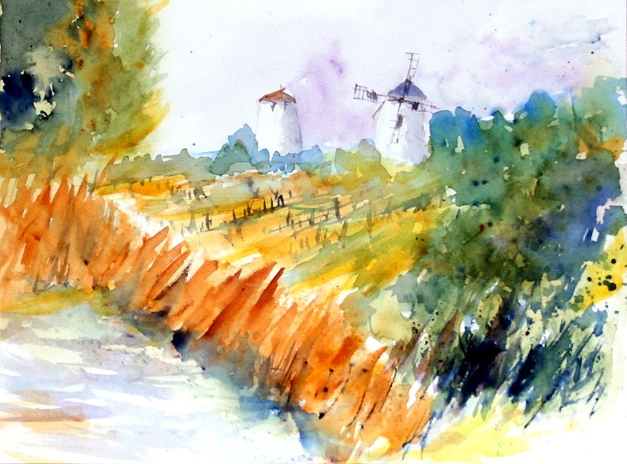 aquarell, watercolor, aquarelle, retz, retzerland, weinviertel, weinberg, vineyard, vignoble, weingarten, vineyard, vigne, windmühle, wind mill, moulin à vent,