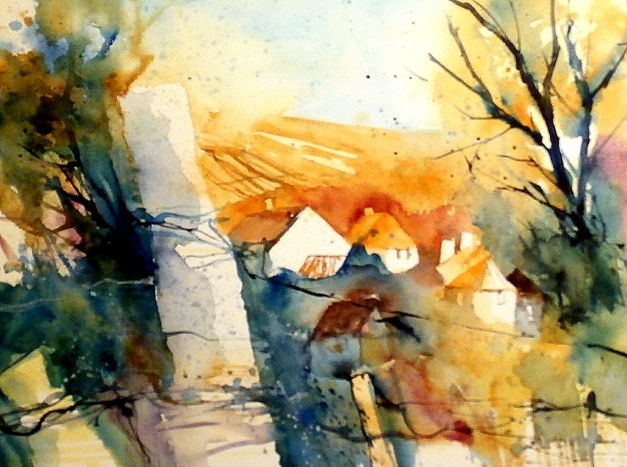 aquarell, watercolor, aquarelle, weinberg, vineyard, vignoble, weingarten, vineyard, vigne,