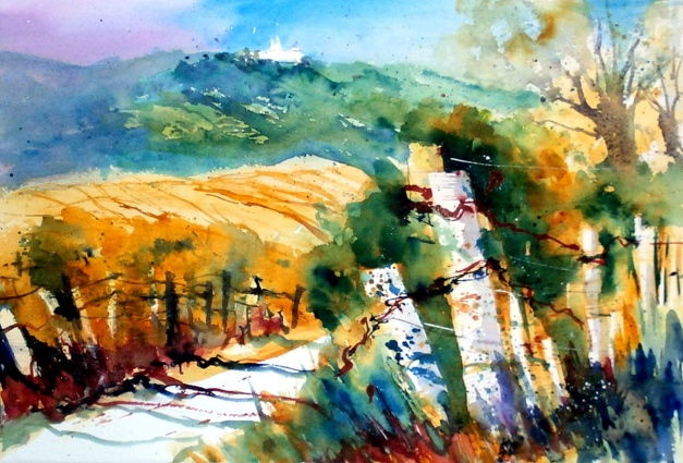 aquarell, watercolor, aquarelle, berg, mountain, mont, gebirge, mountains, montagne, wien, vienna, leopoldsberg
