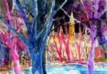 aquarell, watercolor, aquarelle, nacht, night, nuit, wien, vienna, eistraum, rathaus, rathausplatz, rathauspark, ringstrasse