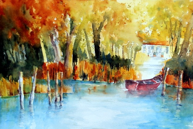 aquarell, watercolor, aquarelle, acquerello, schilf, reed, roseau, canna palustre, see, lake, lac, lago, teich, pond, étang, laghetto, stagno, sommer, summer, été, estate, haus, house, maison, casa, boot, boat, bateau, barca, batello, scarfo, rot, red, rouge, rosso,