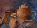 aquarell, watercolor, aquarelle, acquerello, acuarela, stillleben, still life, nature morte, natura morte, naturaleza muerta, bodegôn, topf, pot, pots, vaso, pote,