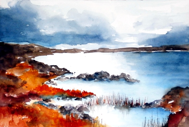 aquarell, watercolor, aquarelle, acquerello, acuarela, irland, eire, see, lake, lac, lago,