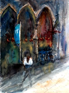 aquarell, watercolor, aquarelle, acquerello, acuarela, kirche, church, église, chiesa, templo,