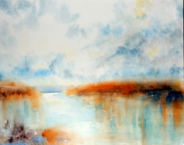 aquarell, watercolor, aquarelle, acquerello, acuarela, see, lake, lac, lago, schilf, reed, roseau, canna palustre, Rust, Neusiedler See, Burgenland