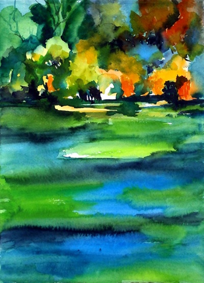 aquarell, watercolor, aquarelle, acquerello, acuarela, bäume, trees, arbres, albero, árbol, gebüsch, coppice, copse, buisson, soto, boscaje, bujedal, bujedo, matorral, Givery, park, parc, mushroom, champignon, fungo, seta, ufer, bank, shore, rive, teich, pond, étang, laghetto, stagno, Giverny