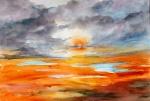 aquarell, watercolor, aquarelle, acquerello, acuarela, regen, rain, pluie, pioggia, lluvia, landscape, paysage, paesaggio, paisaje, sonnenuntergang, sunset, sundown, coucher du soleil,