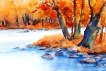 aquarell, watercolor, aquarelle, acquerello, acuarela, bach, beck, creek, ruisseau, ru, stein, stone, pierre, sasso, pietra, piedra, herbst, fall, autumn, automne, autunno, otoño, bäume, trees, arbres, albero, árbol,
