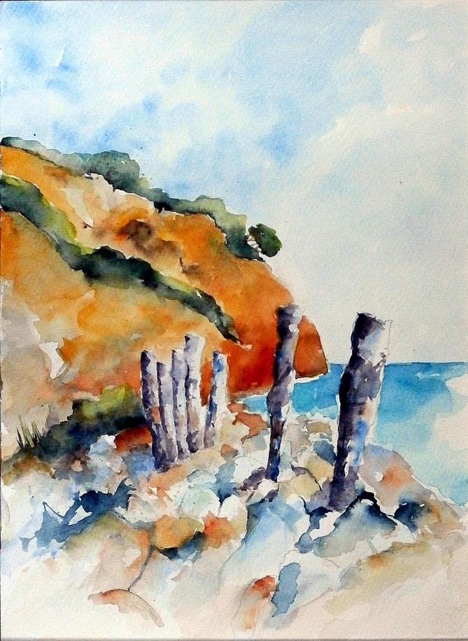 aquarell, watercolor, aquarelle, acquerello, acuarela, steilküste, cliff, cliff line, bluff, falaise, berge, meer, sea, mer, mare, mar,