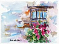 aquarell, watercolor, aquarelle, acquerello, acuarela, detail, dettaglio, detalle, fenster, window, fenêtre, finestra, ventana, blumen, flowers, fleurs, fiore, flor,