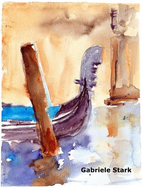 aquarell, watercolor, aquarelle, acquerello, acuarela, gondel, gondula, nacelle, gondole,
