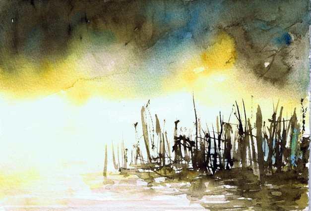 aquarell, watercolor, aquarelle, acquerello, acuarela, nebel, fog, mist, brouillard, brume, antinebbia, fumogeno, niebla, bruma, thaya, waldviertel
