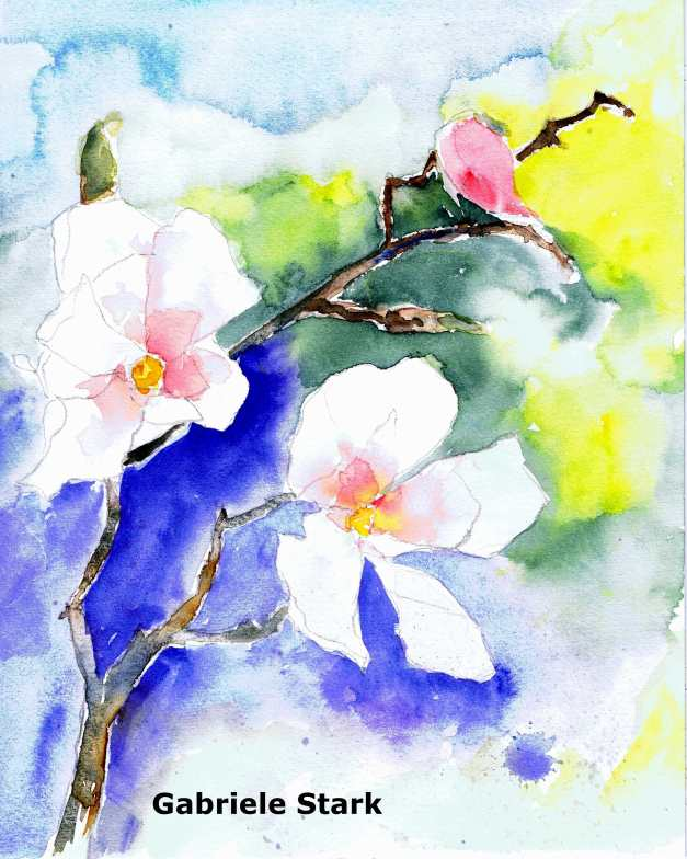 aquarell, watercolor, aquarelle, acquerello, acuarela, blüten, blossom, bloom, fleuraison, floraison, zweig, branch, twig, brindille, ramille, rametto, fronda, fuscello, rama, ramo, ramito,