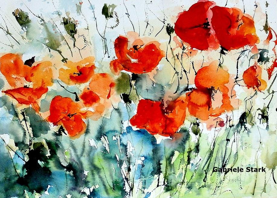 aquarell, watercolor, aquarelle, acquerello, acuarela, mohnblumen, poppy, poppies, coquelicot, papavero, amapola, wiese, meadow, lawn, grassland, prairie, prato, pradera, mohnblumenwiese