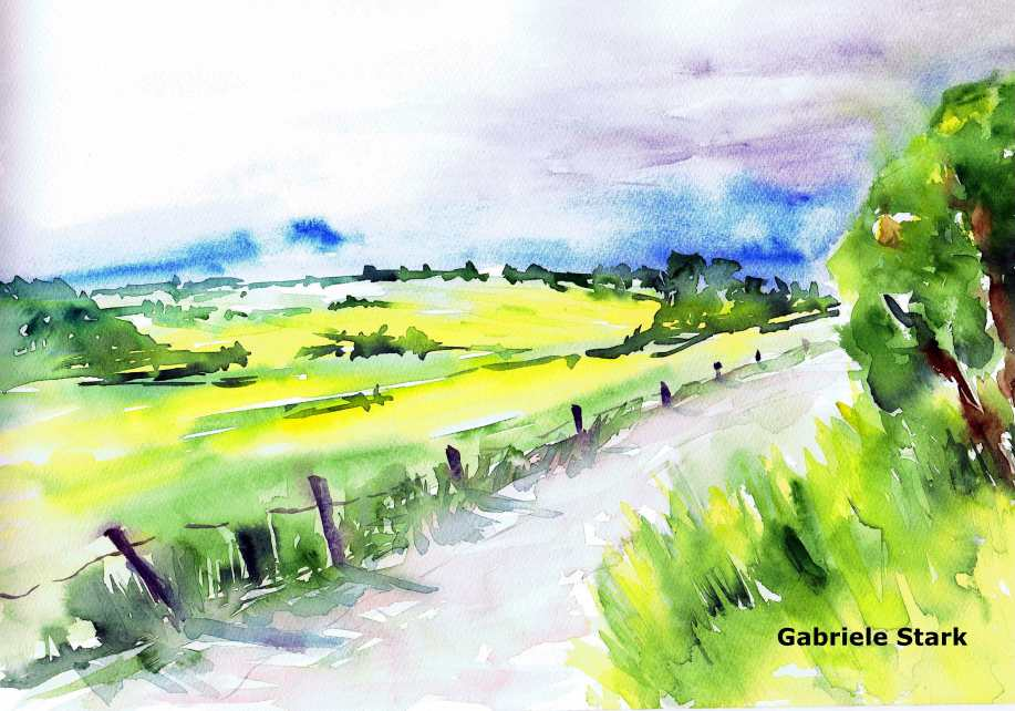 aquarell, watercolor, aquarelle, acquerello, acuarela, sommer, summer, été, estate, verano, estío, weg, path, chemin, sentiero, camino,