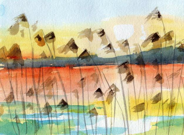 aquarell, watercolor, aquarelle, acquerello, acuarela, nebel, fog, mist, brouillard, brume, antinebbia, fumogeno, niebla, bruma, schilf, reed, roseau, canna palustre, sonnenuntergang, sunset, sundown, coucher du soleil, tramonto del sole, ocaso, puesta del sol, atardecer,