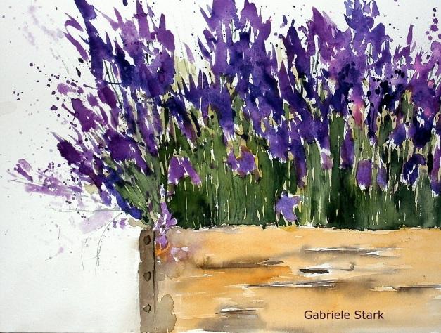 aquarell, watercolor, aquarelle, acquerello, acuarela, blumen, flowers, fleurs, fiore, flor, lavendel, lavender, lavande, lavanda, alhucema,