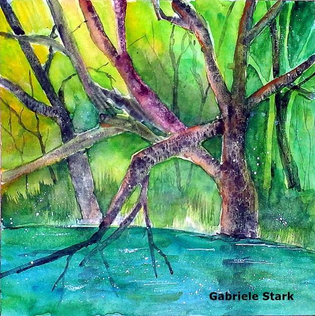 aquarell, watercolor, aquarelle, acquerello, acuarela, bäume, trees, arbres, albero, árbol, teich, pond, étang, laghetto, stagno, Wolfsteich